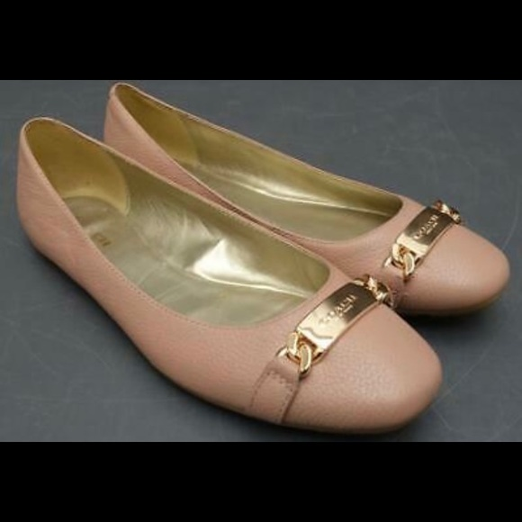 Coach Bianca blush leather flats with gold size 8
